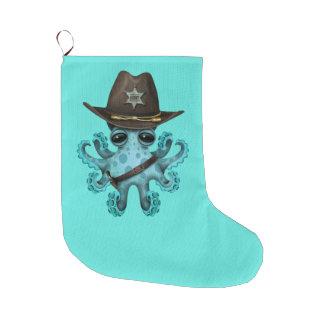 Cute Blue Baby Octopus Sheriff Large Christmas Stocking