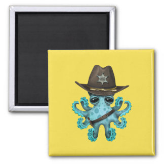 Cute Blue Baby Octopus Sheriff Magnet