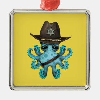 Cute Blue Baby Octopus Sheriff Metal Ornament