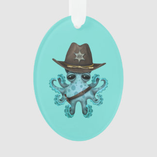Cute Blue Baby Octopus Sheriff Ornament