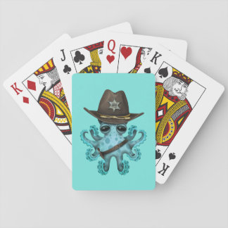Cute Blue Baby Octopus Sheriff Playing Cards