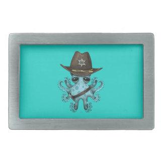 Cute Blue Baby Octopus Sheriff Rectangular Belt Buckle