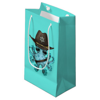 Cute Blue Baby Octopus Sheriff Small Gift Bag