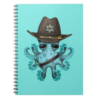 Cute Blue Baby Octopus Sheriff Spiral Notebook
