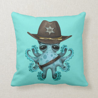 Cute Blue Baby Octopus Sheriff Throw Pillow