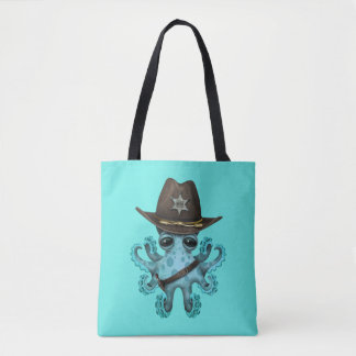 Cute Blue Baby Octopus Sheriff Tote Bag