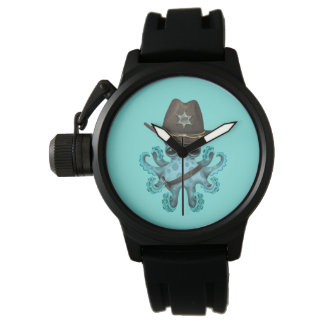 Cute Blue Baby Octopus Sheriff Watch