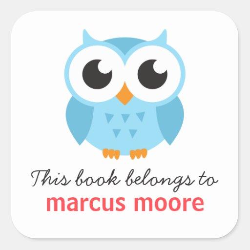 Cute blue baby owl animal cartoon bookplate book square sticker