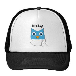 """Cute blue Baby Owl - """"It's a boy"""" Trucker Hat"""