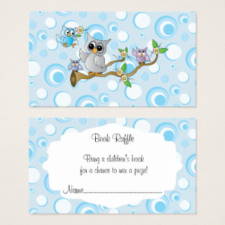 Cute Blue Baby Owls Baby Shower Book Raffle Business Card