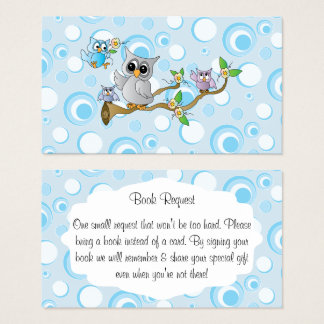 Cute Blue Baby Owls Baby Shower Book Request Business Card