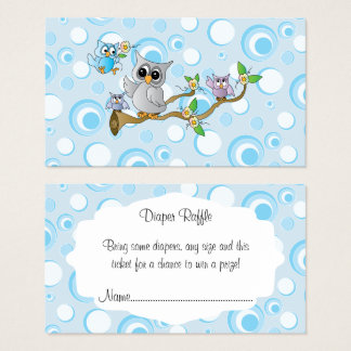 Cute Blue Baby Owls Baby Shower Diaper Raffle Business Card
