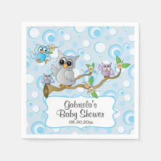 Cute Blue Baby Owls | Shower Theme Napkin