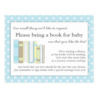 Cute Blue Baby Shower Book Insert Request Card Postcard