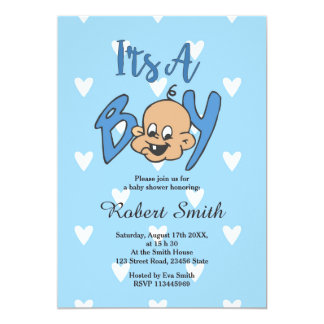 Cute Blue Baby Shower Invitation for Boys