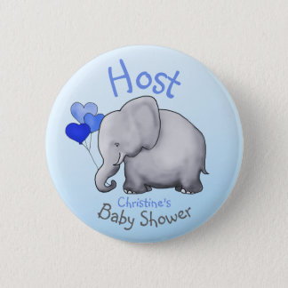 Cute Blue Balloons Elephant Baby Shower Host 2 Inch Round Button
