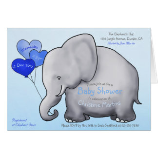 Cute Blue Balloons Elephant Baby Shower Invitation