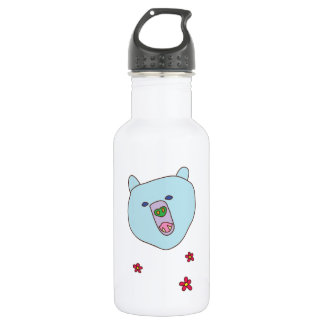 Cute Blue Bear Face Water Bottle