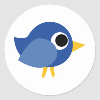 Cute Blue Bird Round Sticker