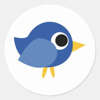 Cute Blue Bird Round Sticker