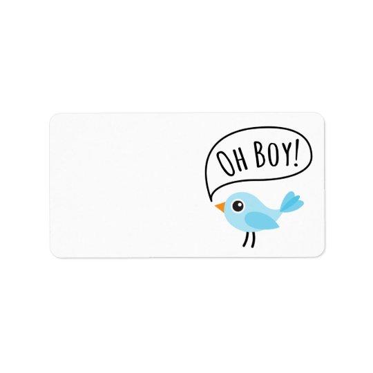 Cute blue bird saying Oh Boy blank baby shower