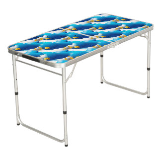 Cute Blue Birds Beer Pong Table