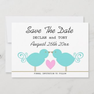 Cute Blue Birds Gay Wedding Save The Date