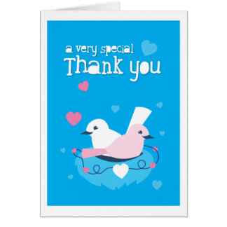 cute blue birds love very special thank you! card