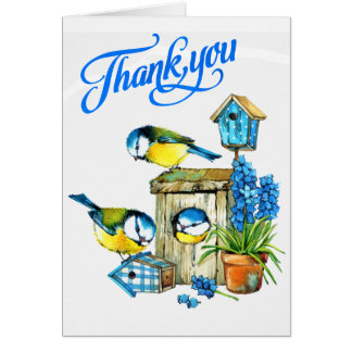 Cute Blue Birds of Happiness Thank You Card