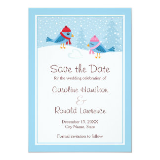 Cute blue birds winter wedding save the date card