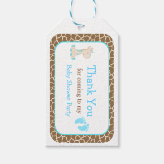 Cute Blue Boy Giraffe Thank You Gift Tag