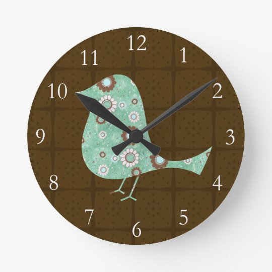 Cute Blue/Brown Pattern Bird Wall Clock