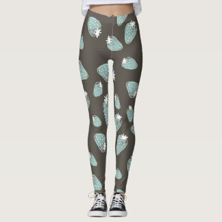 CUTE BLUE BROWN WATERCOLOUR STRAWBERRIES LEGGINGS