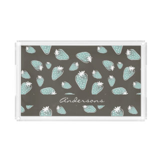 CUTE BLUE BROWN WATERCOLOUR STRAWBERRIES MONOGRAM ACRYLIC TRAY