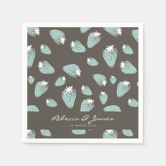 CUTE BLUE BROWN WATERCOLOUR STRAWBERRIES MONOGRAM PAPER NAPKIN