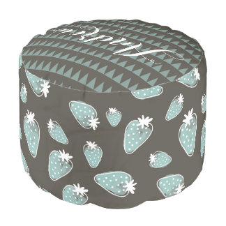CUTE BLUE BROWN WATERCOLOUR STRAWBERRIES MONOGRAM POUF