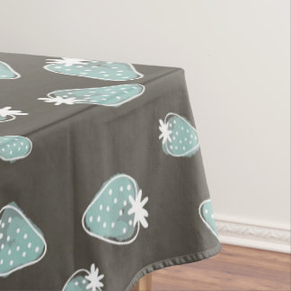 CUTE BLUE BROWN WATERCOLOUR STRAWBERRIES MONOGRAM TABLECLOTH