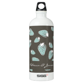 CUTE BLUE BROWN WATERCOLOUR STRAWBERRIES MONOGRAM WATER BOTTLE