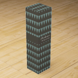 CUTE BLUE BROWN WATERCOLOUR TRIANGLE COL. WINE GIFT BOXES