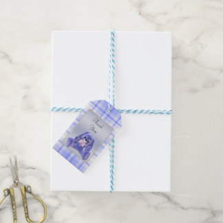 Cute Blue Bunny Rabbit Thank You Baby Shower Gift Tags