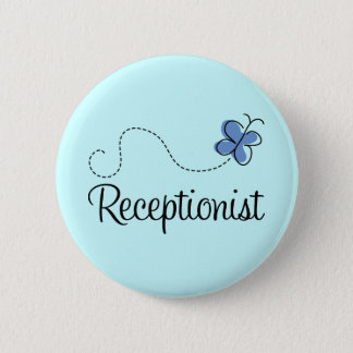 Cute Blue Butterfly Receptionist Job Gift 2 Inch Round Button