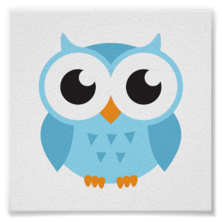 Cute blue cartoon baby owl poster
