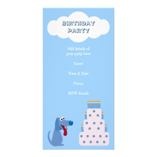 Cute Blue Cartoon Dog & Birthday Cake Invitations Picture Card