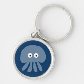 Cute Blue Cartoon Jellyfish / Octopus Custom Silver-Colored Round Keychain