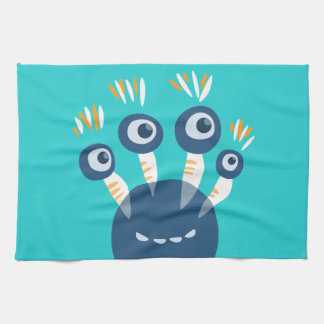Cute Blue Cartoon Monster With Four Eyes Kitchen Towel