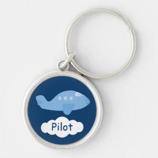 Cute Blue Cartoon Plane Customizable Pilot Silver-Colored Round Keychain