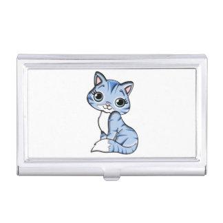 Cute blue cat cartoon business card holder