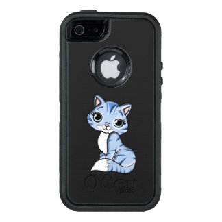 Cute blue cat cartoon OtterBox defender iPhone case