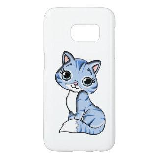 Cute blue cat cartoon samsung galaxy s7 case
