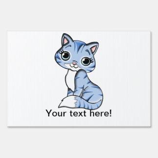 Cute blue cat cartoon sign